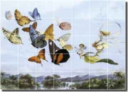 "Doyle Fantasy Fairy Butterfly Ceramic Tile Mural 29.75"" x 21.25"" - GFP022"
