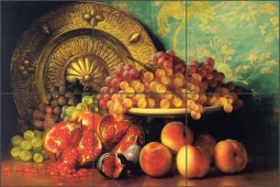 Hall Pomegranates Grapes Fruit Ceramic Tile Mural - GHH001
