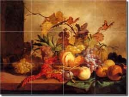 "Lance Fruit Art Kitchen Ceramic Tile Mural 24"" x 18"" - GL3001"