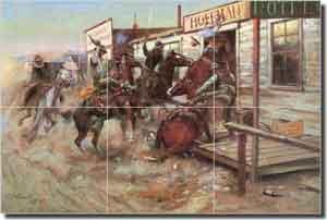 Russell Western Cowboy Ceramic Tile Mural 18 X 12 GPAW094