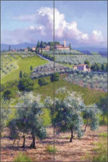 Oil Trees of Chianti by June Carey Ceramic Tile Mural - GW-JC010
