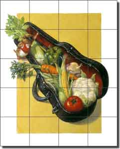 "Gustafson Vegetable Ceramic Tile Mural 17"" x 21.25"" - GW-SG003"
