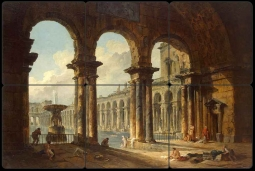 Antique Ruins as a Public Bath by Hubert Robert Tumbled Marble Tile Mural - HR2002
