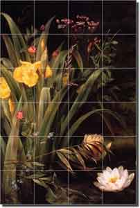 "A Lily Pond by Hermania Neegaard -  Floral Ceramic Tile Mural 25.5"" x 17"""