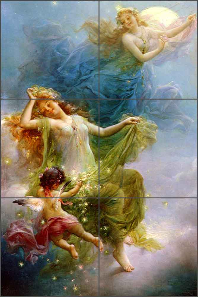 In the Night Sky by Hans Zatzka Ceramic Tile Mural - HZ002