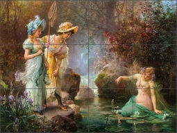 A Water Idyll by Hans Zatzka Ceramic Tile Mural - HZ009