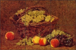 Basket of White Grapes and Peaches by Ignace Fantin-Latour Ceramic Tile Mural - IHJTFL003