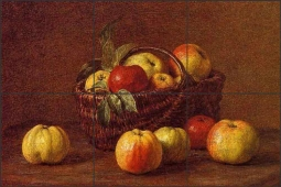 Apples in a Basket on a Table by Ignace Fantin-Latour Ceramic Tile Mural IHJTFL005