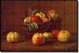 "Latour Fruit Apples Tumbled Marble Tile Mural 24"" x 16"" - IHJTFL005"