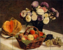 Flowers and Fruit, a Melon by Ignace Fantin-Latour Ceramic Tile Mural - IHJTFL008