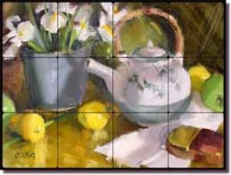 "Crowe Fruit Tea Still Life Tumbled Marble Tile Mural 16"" x 12"""