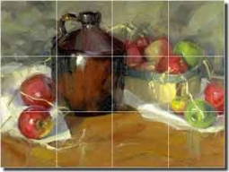 "Crowe Apple Fruit Still Life Ceramic Tile Mural 24"" x 18"" - JAC005"