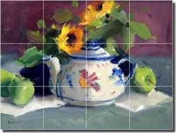 "Crowe Floral Fruit Still Life Ceramic Tile Mural 17"" x 12.75"" - JAC010"
