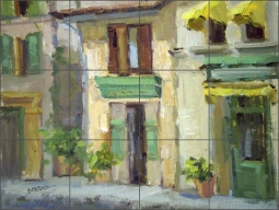 City Streets in Provence by Judy A. Crowe Ceramic Tile Mural - JAC018CS
