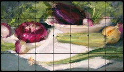 "Crowe Vegetables Tumbled Marble Tile Mural 28"" x 16"" - JAC021"