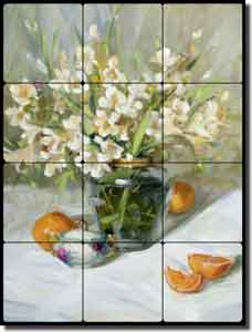 "Crowe Floral Still Life Tumbled Marble Tile Mural 18"" x 24"" - JAC024"