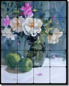 "Crowe Roses Floral Tumbled Marble Tile Mural 16"" x 20"" - JAC027"