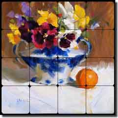 "Crowe Pansies Flowers Tumbled Marble Tile Mural 16"" x 16"" - JAC049"