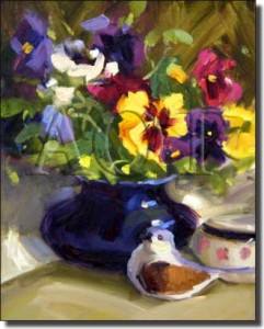 "Pretty Pansies by Judy Crowe - Floral Still Life Tumbled Marble Tile Mural 16"" x 12"" Kitchen Shower"