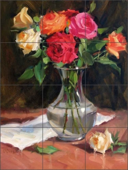 Rose Medley by Judy A. Crowe Ceramic Tile Mural - JAC058