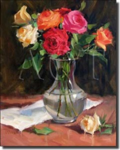 "Rose Medley by Judy Crowe - Floral Still Life Tumbled Marble Tile Mural 16"" x 12"" Kitchen Shower Bac"