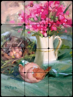Song of Spring by Judy A Crowe Tumbled Marble Tile Mural JAC062