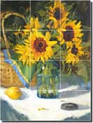 "Crowe Sunflower Floral Ceramic Tile Mural 12.75"" x 17"" - JAC067"