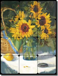 "Crowe Sunflower Floral Tumbled Marble Tile Mural 12"" x 16"" - JAC067"