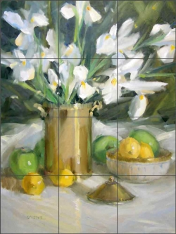 White Iris by Judy A Crowe Ceramic Tile Mural JAC073