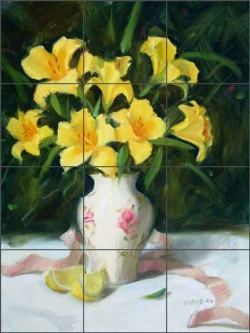 Day Lilies by Judy A. Crowe Ceramic Tile Mural - JAC078