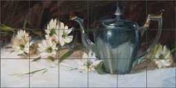 Spring Daisies with Silver by Judy A.Crowe Ceramic Tile Mural JAC080