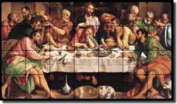 "Bassano Religious  Last Supper Tumbled Marble Tile Mural 28"" x 16"" - JB4001"