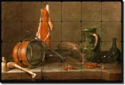 "Chardin Kitchen Still Life Tumbled Marble Tile Mural 24"" x 16"" - JBSC002"
