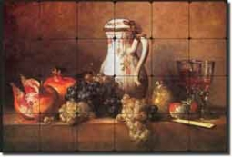 "Chardin Grapes Pomegranates Fruit Tumbled Marble Tile Mural 24"" x 16"" - JBSC008"