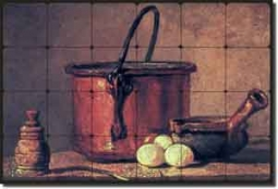 "Chardin Old World Kitchen Tumbled Marble Tile Mural 24"" x 16"" - JBSC009"