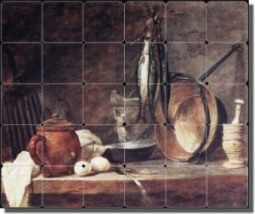 "The Fast Day Meal by Jean Baptiste Simeon Chardin - Fish Still Life Tumbled Marble Mural 20"" x 24"" K"