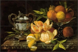 Still Life with Oranges and Lemons by Jean Capeinick Ceramic Tile Mural - JC2001