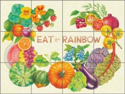 Eat the Rainbow by Joan Chamberlain Ceramic Tile Mural - JC5-001