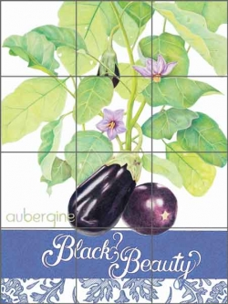 Chamberlain Eggplant Fruit Art Ceramic Tile Mural - JC5-013