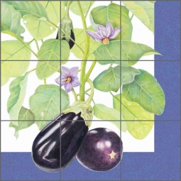 Chamberlain Eggplant Fruit Ceramic Tile Mural - JC5-018