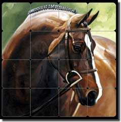 "Crawford Bay Equine Horse Tumbled Marble Tile Mural 16"" x 16"" - JCA002"