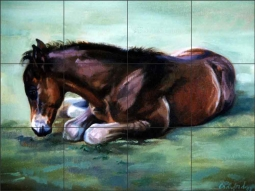 Dozing Foal by Janet Crawford Ceramic Tile Mural - JCA005