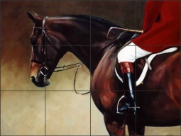 Faithful Field Hunter by Janet Crawford Ceramic Tile Mural - JCA007