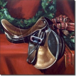 "Holiday Saddle by Janet Crawford - Artwork On Tile Ceramic Mural 17"" x 21.25"" Kitchen Shower Backspl"