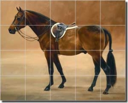 "Crawford Horse Equine Glass Wall Floor Tile Mural 30"" x 24"" - JCA028"