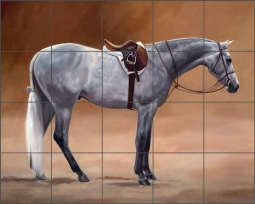 The Saddled Gray by Janet Crawford Ceramic Tile Mural - JCA029