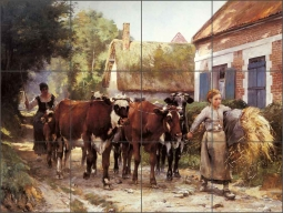 Returning from the Fields by Julien Dupre Ceramic Tile Mural - JD012