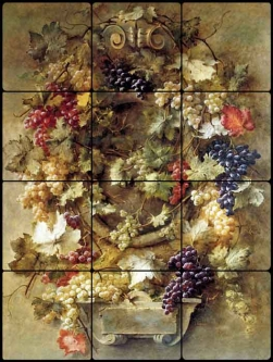 Gibault Grapes Still Life Tumbled Marble Tile Mural JEG001
