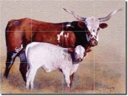 "Fawcett Western Longhorn Cattle Glass Tile Mural 24"" x 18"" - JFA001"