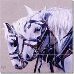 "Fawcett Drafts Horses Glass Tile Mural 24"" x 24"" - JFA002"